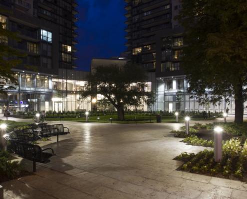 Gibson Square Condos and Rose Garden